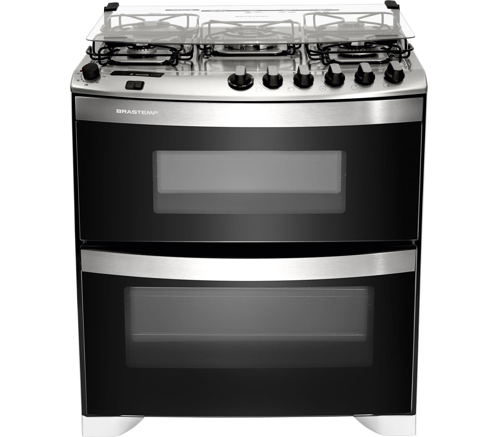 Fogão Brastemp 5 bocas duplo forno Branco com quadrichama, timer digital e mesa flat top