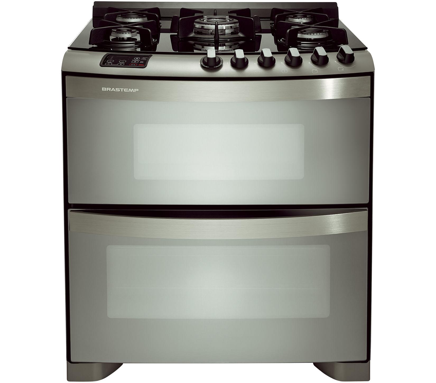 Fogão Brastemp 5 bocas duplo forno cor Inox com mesa de vidro e quadrichama