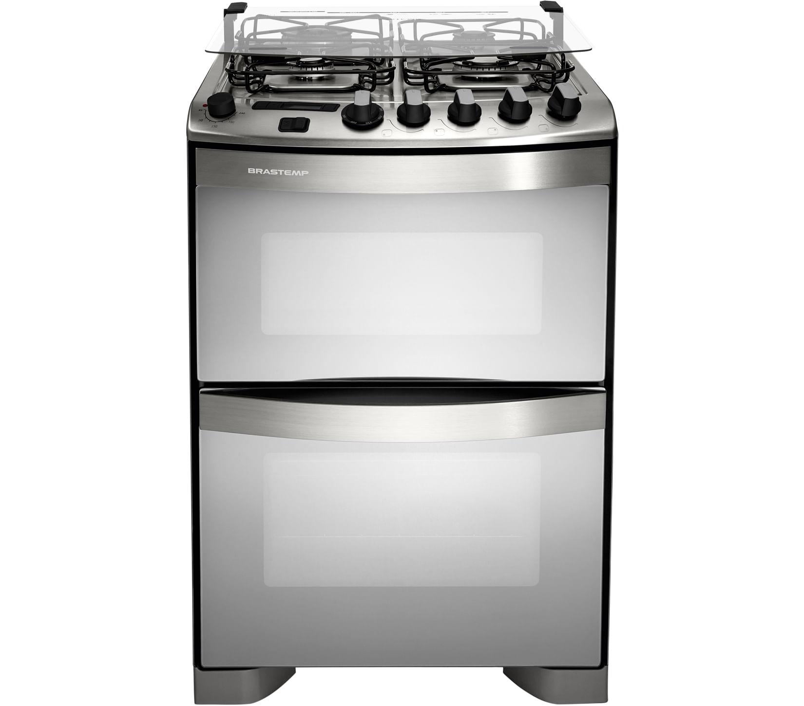 Fogão Brastemp 4 bocas duplo forno cor Inox com dupla chama e timer digital