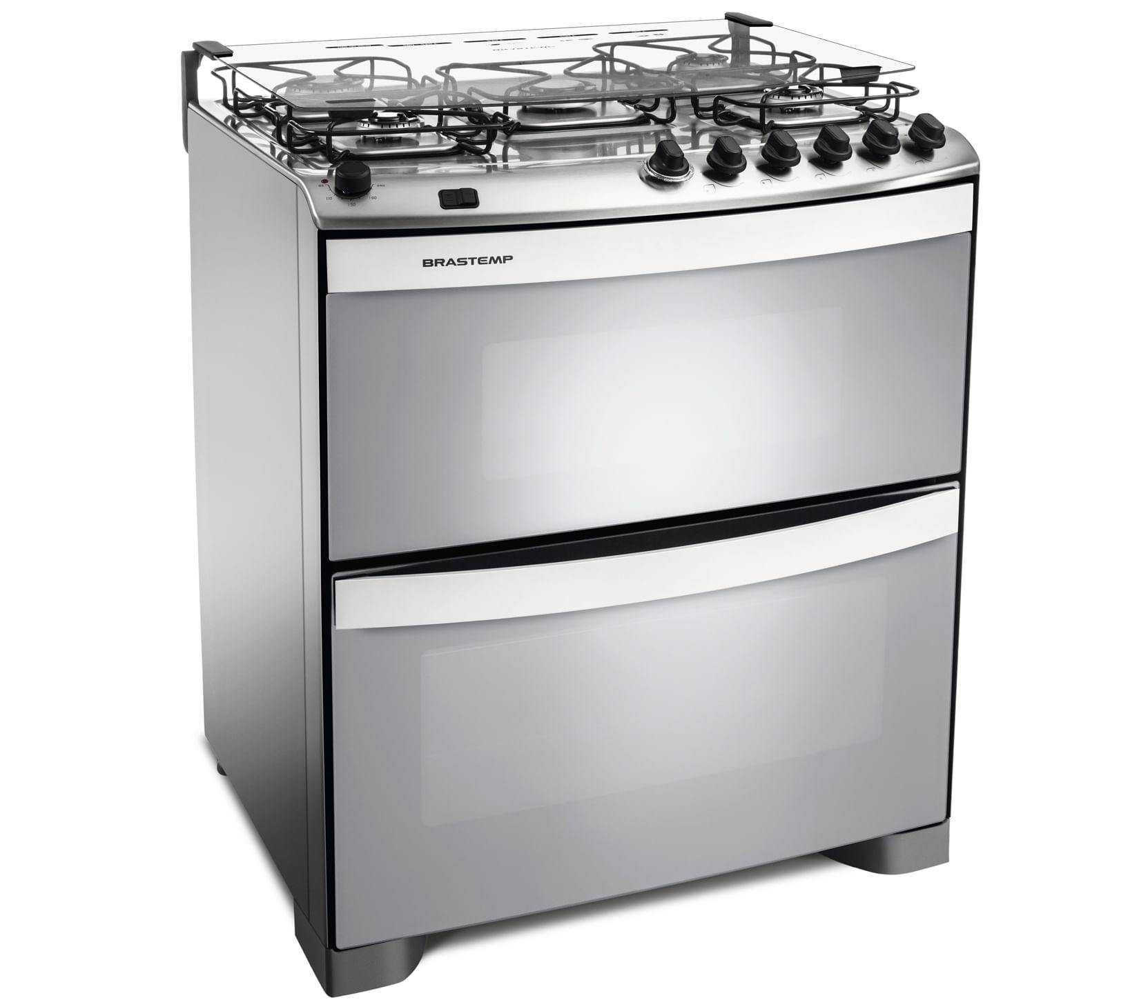 Fogão Brastemp 5 bocas duplo forno cor Inox com acendimento automático e mesa flat top