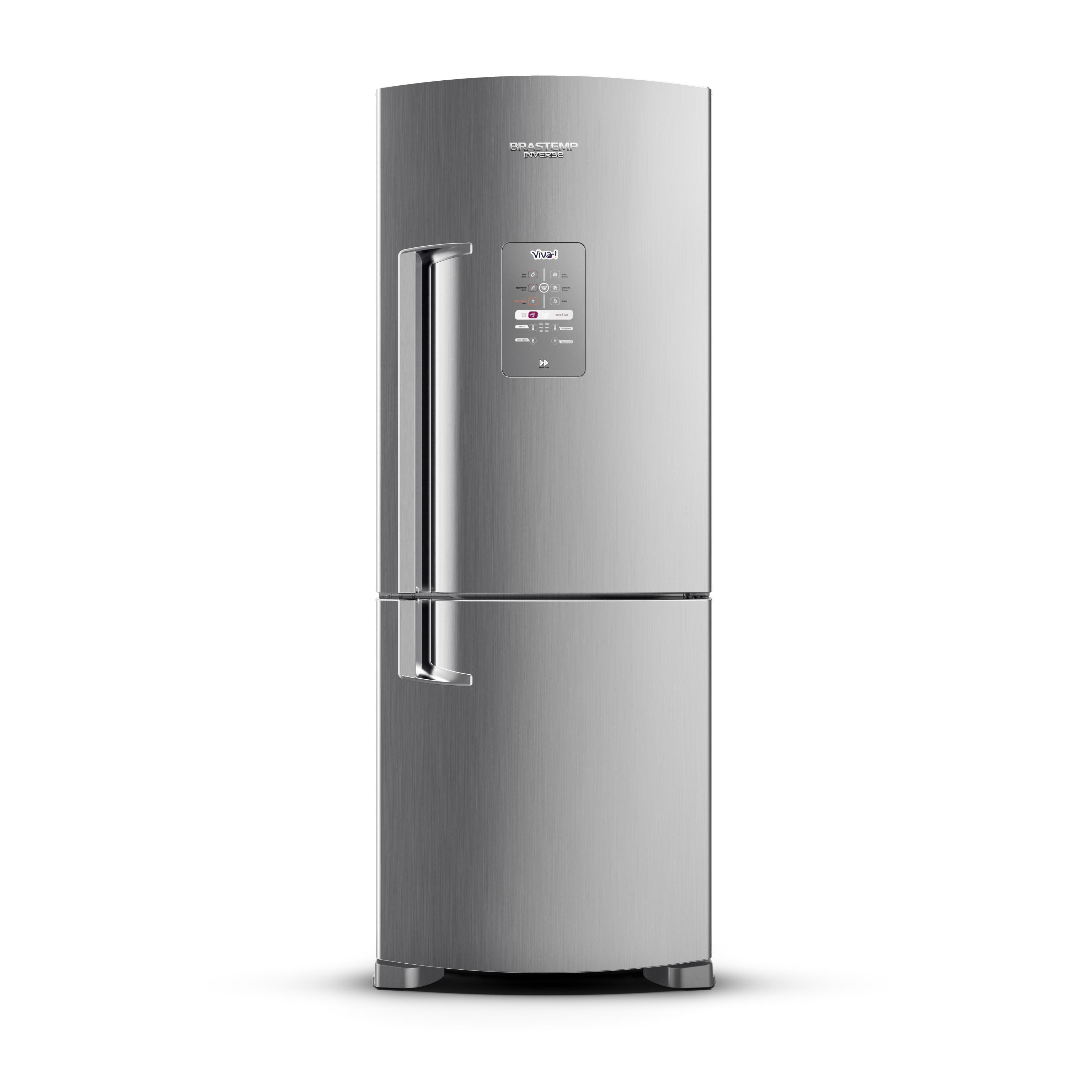 Geladeira Brastemp Frost Free Inverse 422 litros cor Inox Viva com Smart Ice