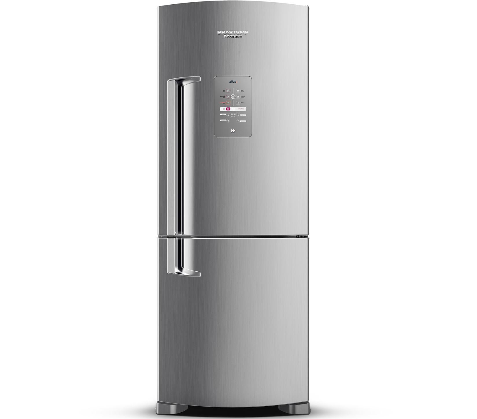 Geladeira Brastemp Frost Free Inverse 422 litros cor Inox com Smart Ice