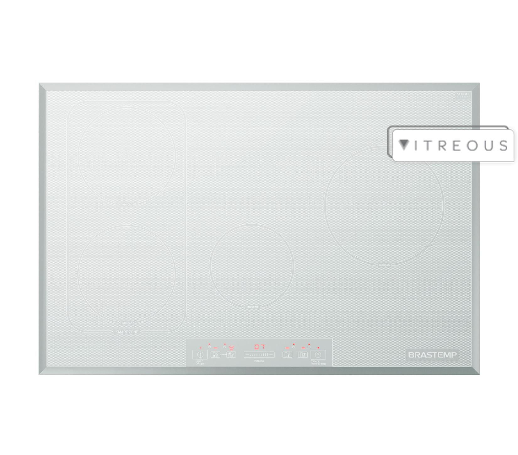 Cooktop 4 bocas de indução Brastemp Branco com smart zone e timer