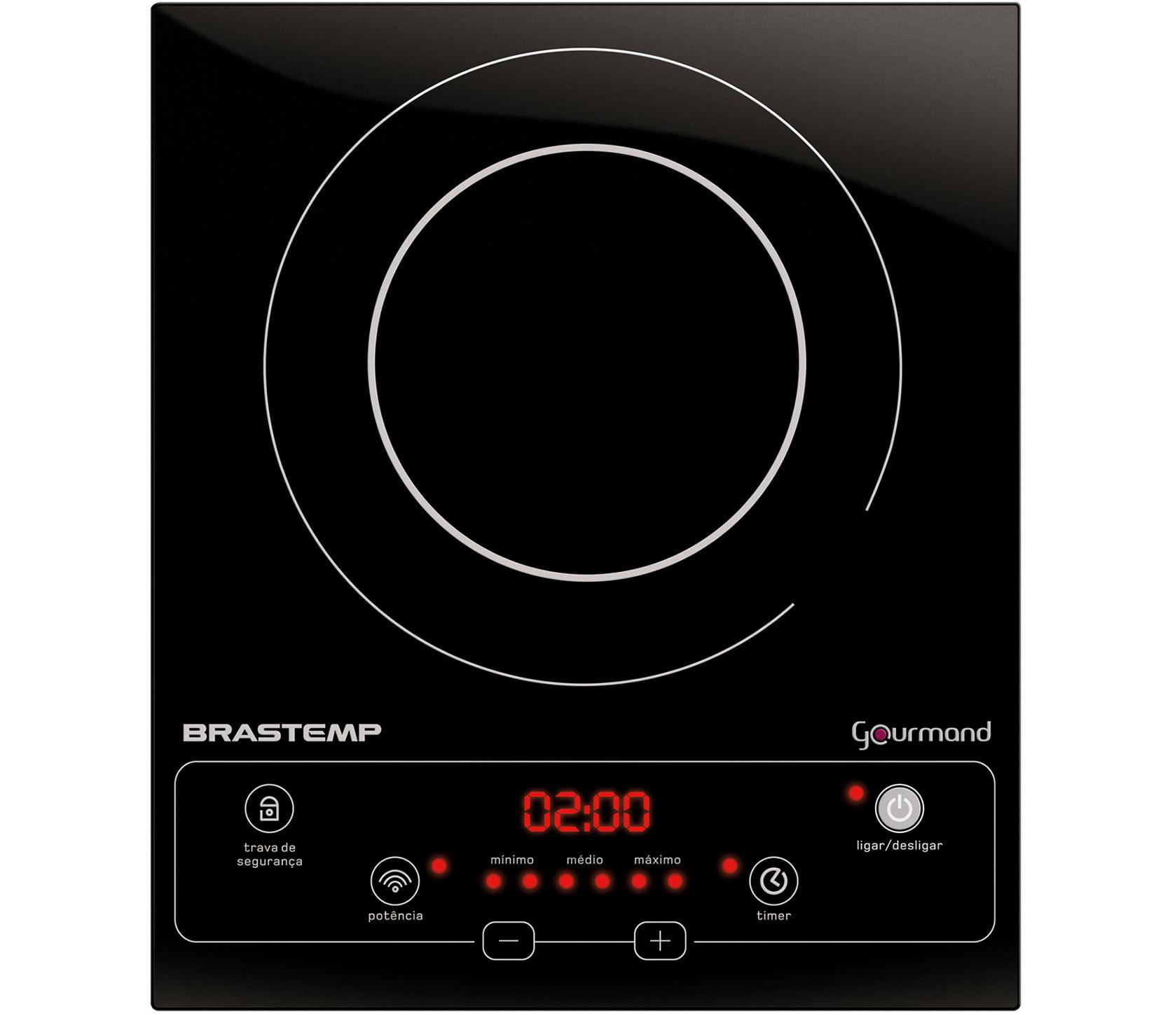 Cooktop 1 boca de indução Brastemp Gourmand portátil com timer touch