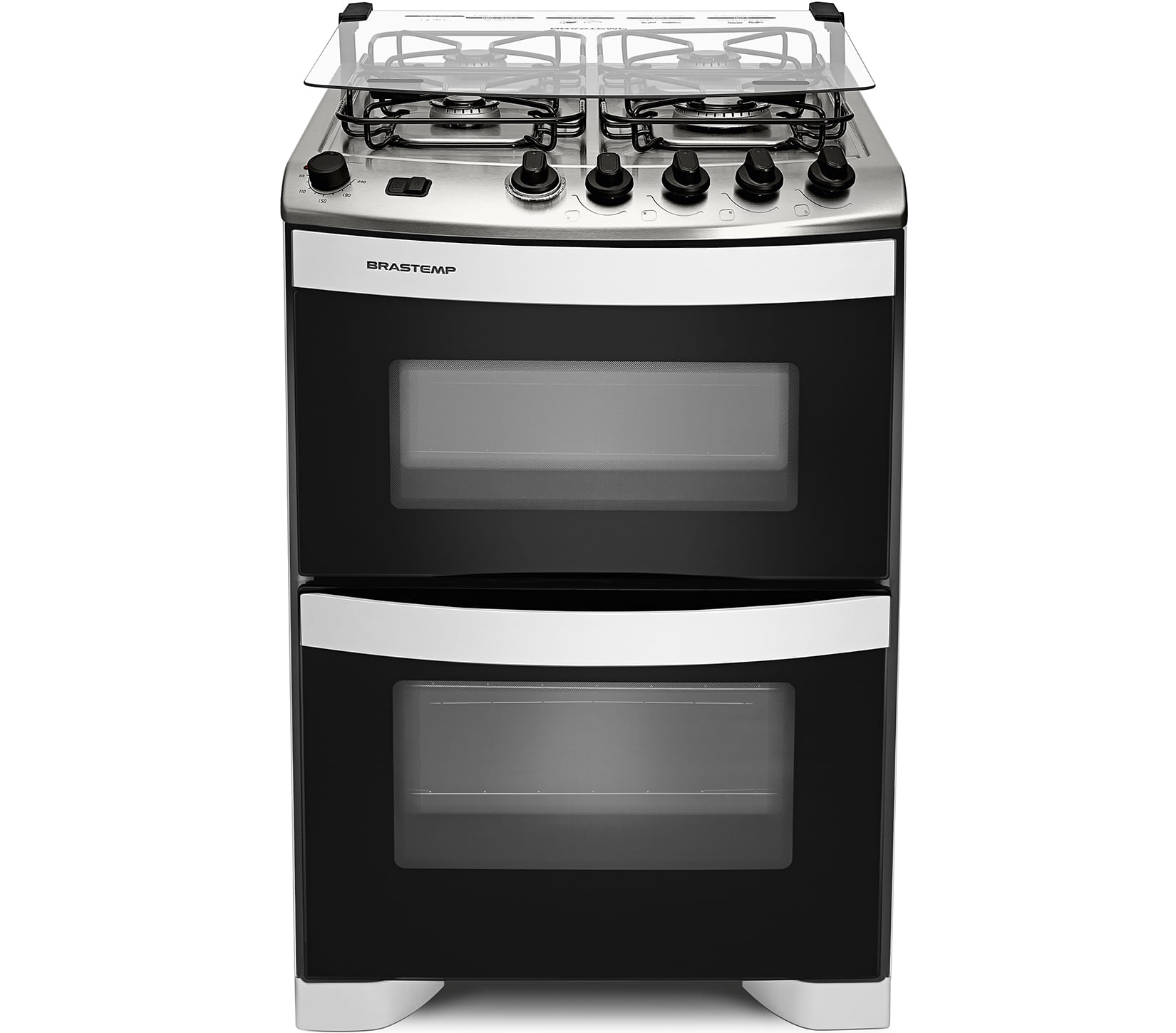 Fogão Brastemp 4 bocas duplo forno Branco com botões removíveis