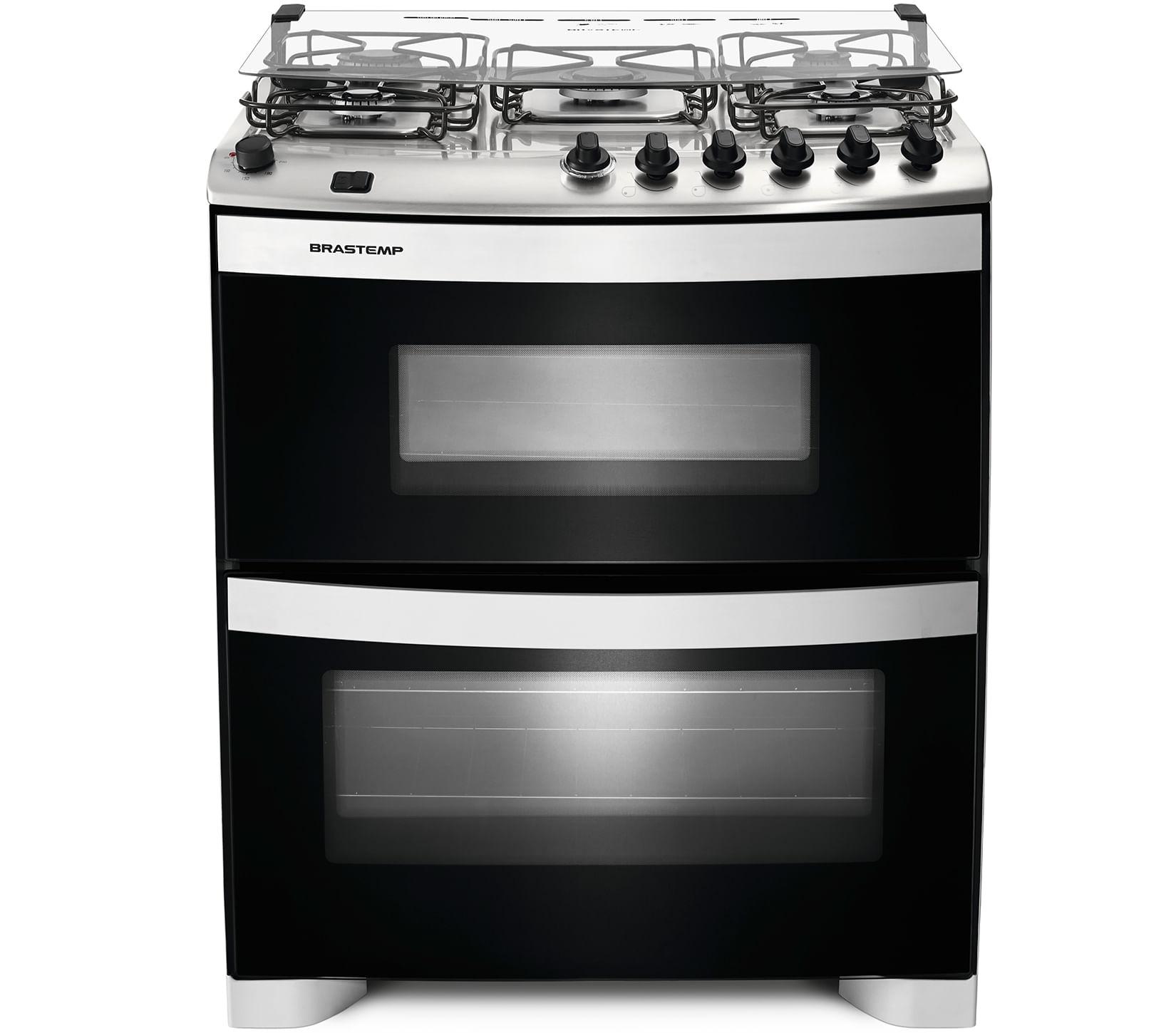 Fogão Brastemp 5 bocas duplo forno Branco com acendimento automático e mesa flat top