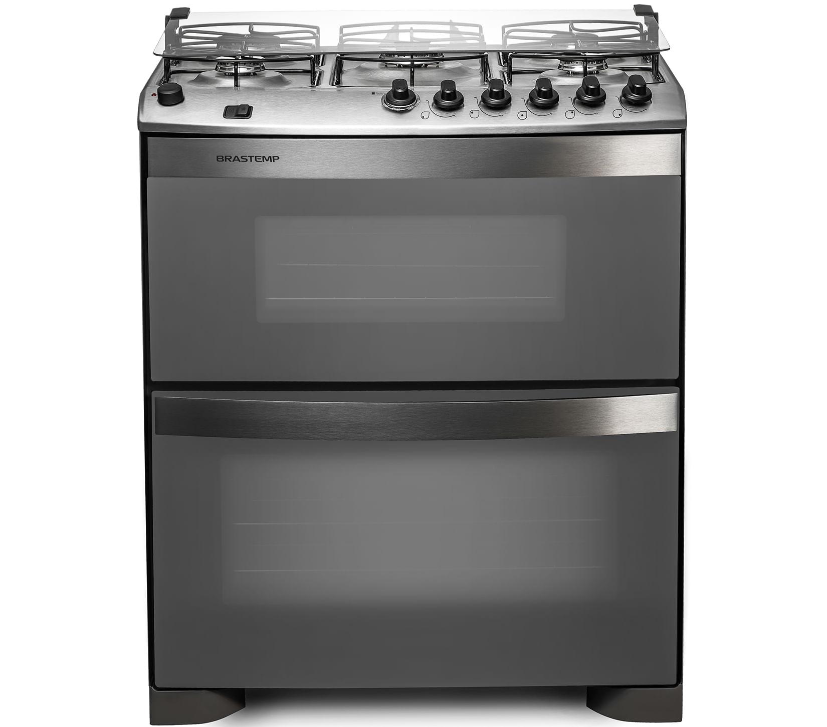 Fogão Brastemp 5 bocas duplo forno cor Inox com acendimento automático