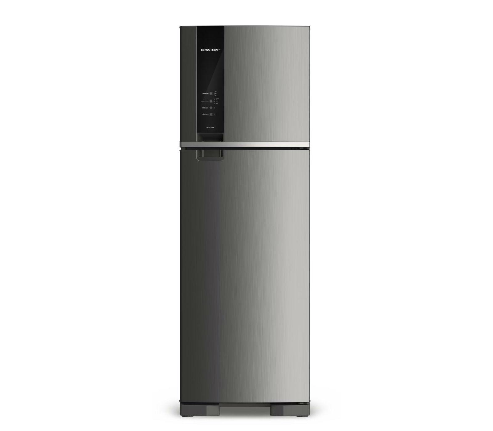 Geladeira Brastemp Frost Free Duplex 400 litros cor Inox com Espaço Adapt