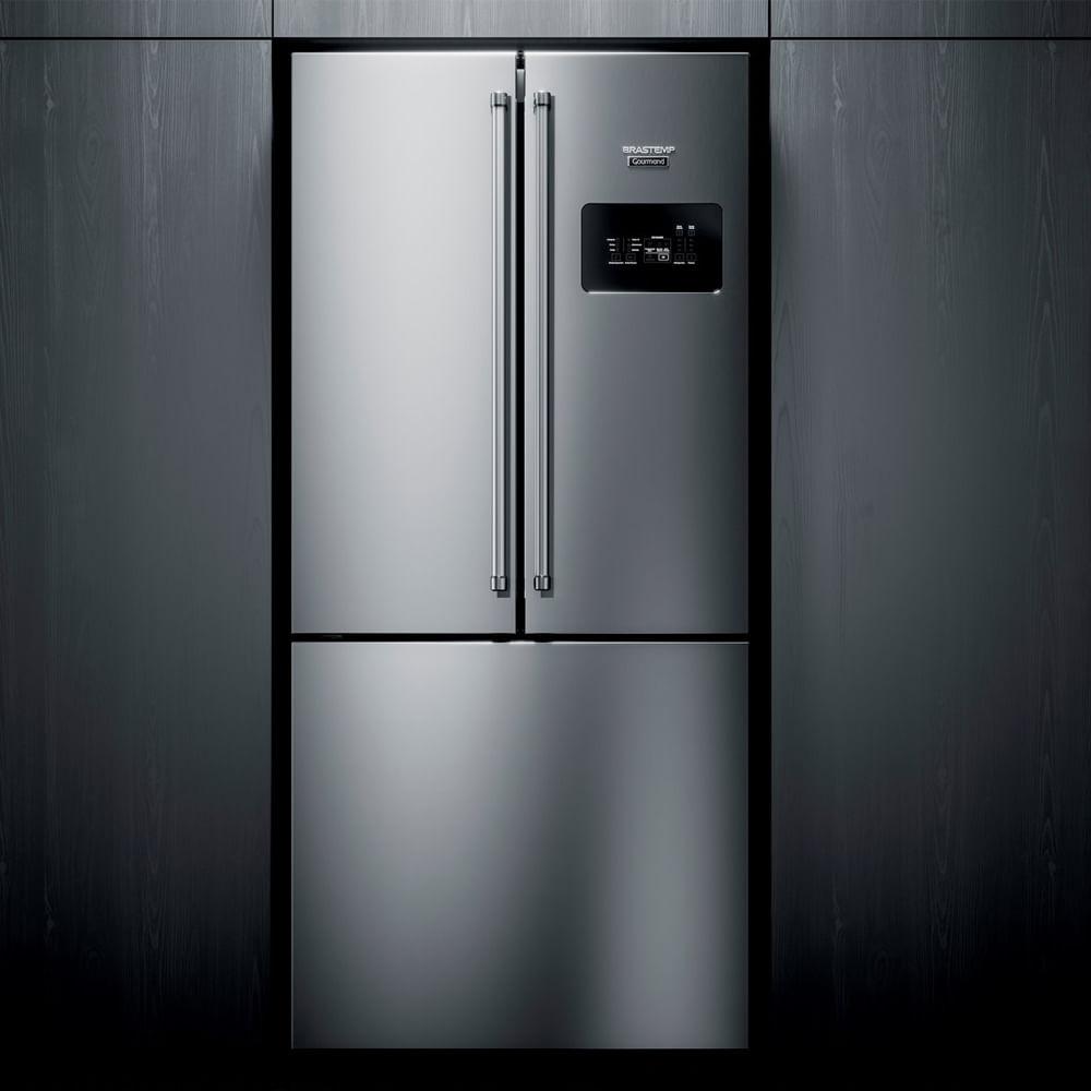 Geladeira Brastemp Gourmand Frost Free Side Inverse 540 litros Inox com Ice Maker - BRO81AR